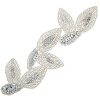 Motif Sequin/beads Leaves Silver 19x5.5cm